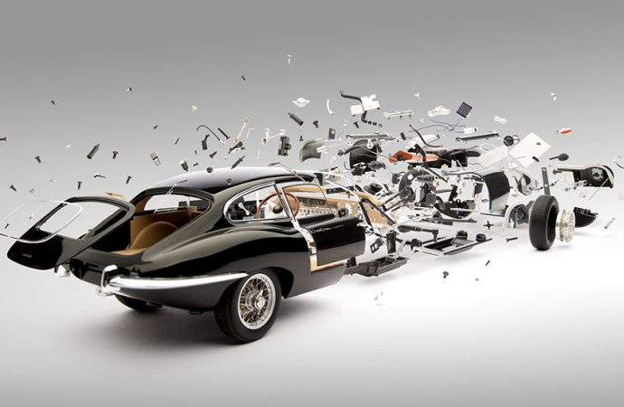 Artist explores the 'birth' and destruction of classic sports cars