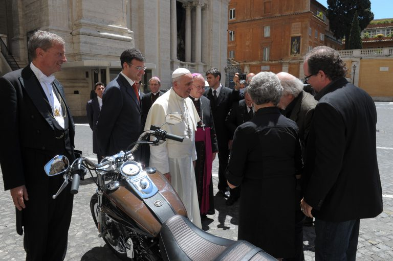 Pope's Harley to be auctioned for charity