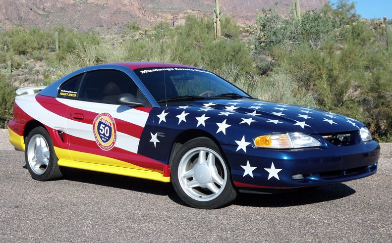 The 1995 GT pace car for Mustangs Across America is wrapped and ready to go. (Photo: Mustangs Across America)