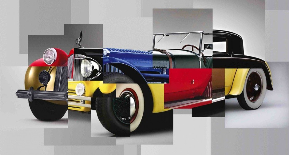 This automotive photo mashup is the 2014 image for Retromobile's 2014 poster. (Illustration: Retromobile)
