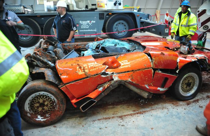 Badly damaged Corvette pace car pulled from sinkhole