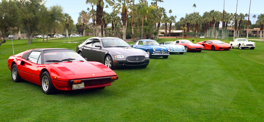 Cars line up for Desert Concorso preview at Shadow Mountain resort| Desert Concoro photo