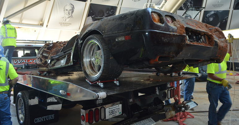 ZR-1 Spyder is loaded onto a flatbed for transfer to display area | National Corvette Museum photos