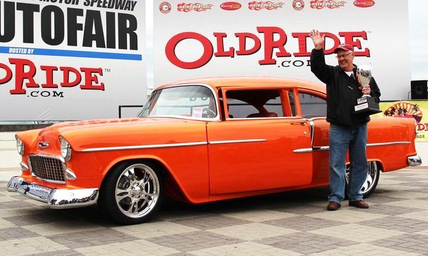 Jerry Horine celebrates with his '55 Chevy Bel Air that won best of show at AutoFest | AutoFest