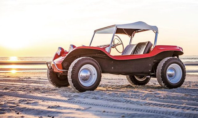 The 1964 Meyers Manx named Old Red in its natural surroundings, a California beach | Historic Vehicle Association