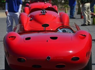 Red cars of the Mille Miglia
