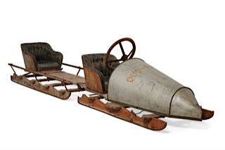 Circa 1910 bobsleigh is part of automobilia section