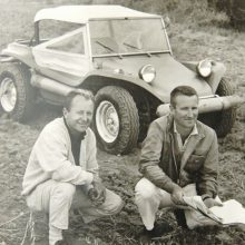 Bruce Meyers (left) and Tom Mangels with Old Red at the Baja 1000 in 1967 | Historic Vehicle Association