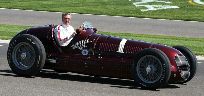 Three-time Indy 500 winnerJohhny Rutherford drove the 1938 Maserati on its speedway lap | Maserati