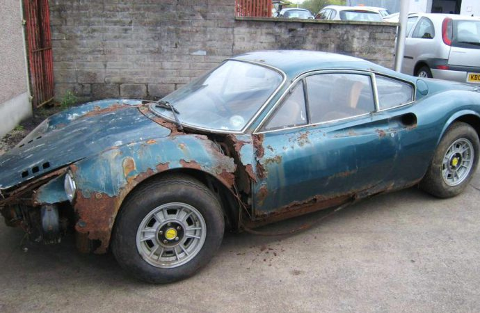 Terminally rusted 'barn find' Ferrari Dino at auction