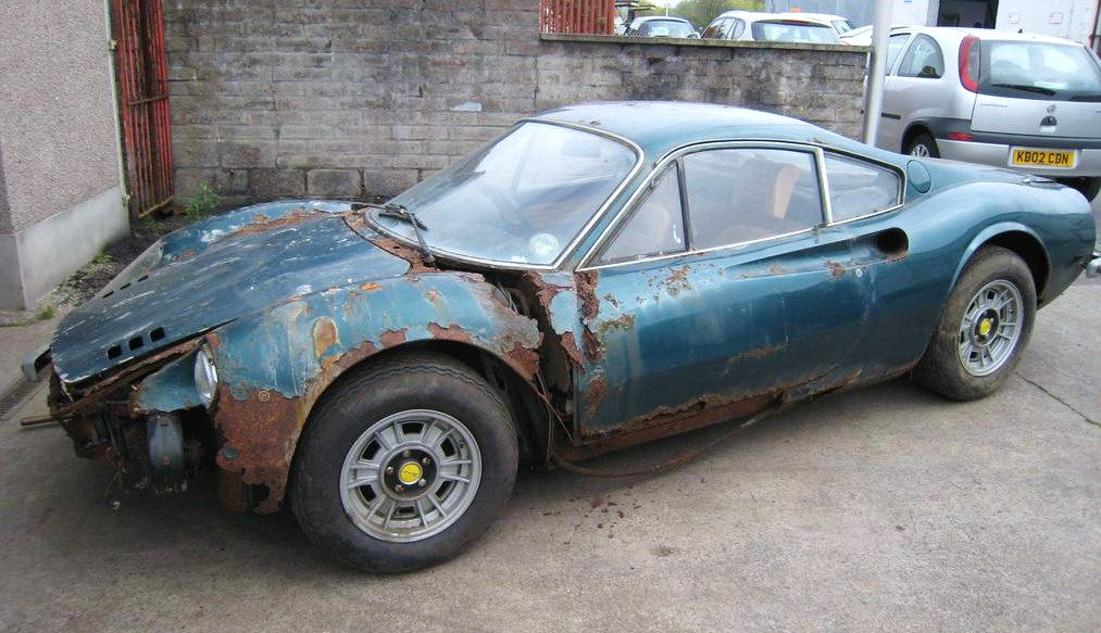 Nearly four decades under a leaky garage roof decimated this low-mileage Ferrari Dino | Silverstone Auctions