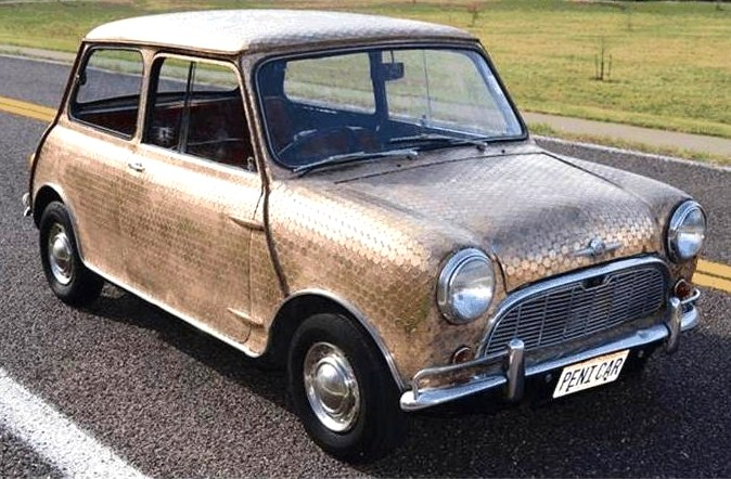 The Mini Penny Car gleams in copper-encrusted homage to 'Penny Lane'
