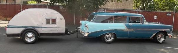 This 1958 Chevrolet station wagon comes with a restored 1950 teardrop trailer