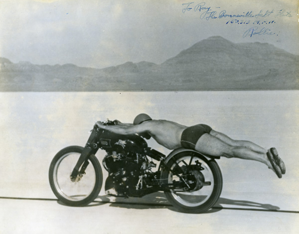 Rollie Free sets speed record on a Vincent | Simeone Museum photo