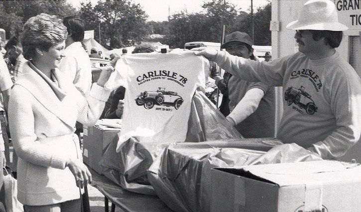Commemorative T-shirts for sale during the 1978 show | Carlisle Events