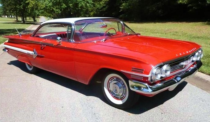 The 1960 Chevy Impala coupe boasts the desirable 'bubble top' roofline