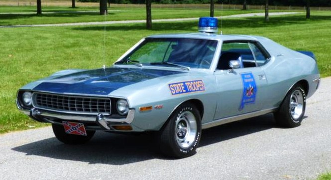 The AMC Javelin SST accurately depicts the Alabama pursuit cars, the seller says
