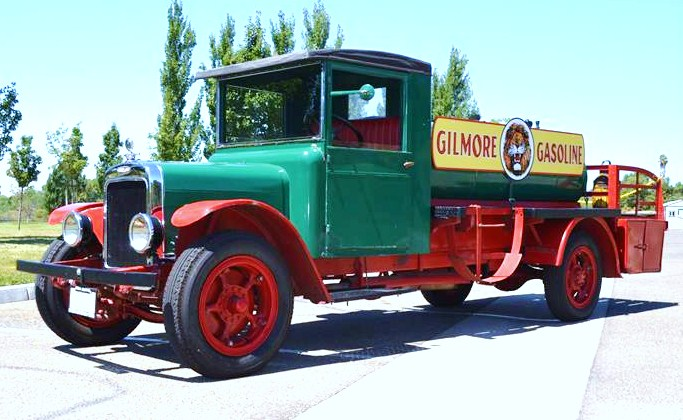 The 1924 Moreland fuel-delivery truck sports Gilmore Gasoline signage