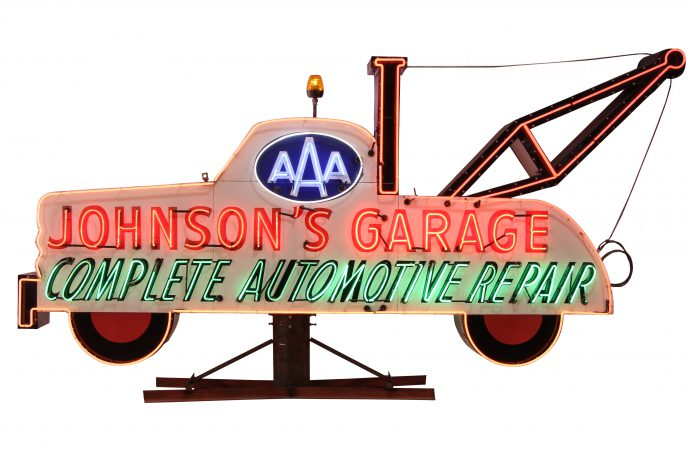 Huge collection of vintage auto and other neon signs to be sold by Mecum