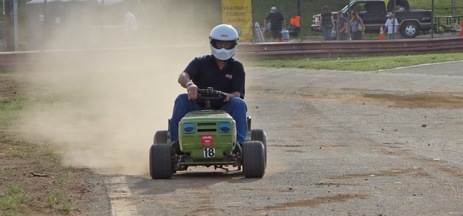 Don't laugh at lawnmower racing until you've tried it | Charlotte AutoFair photo of our guy Andy Reid in action