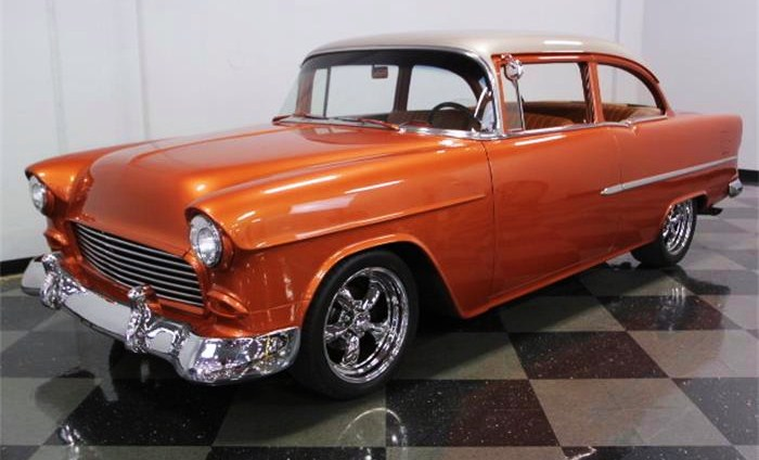 The '55 Chevy has been repainted in a bright copper color