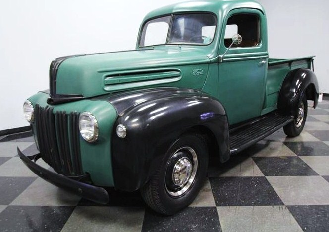 The 1945 Ford pickup is one of the first civilian vehicles built after World War II