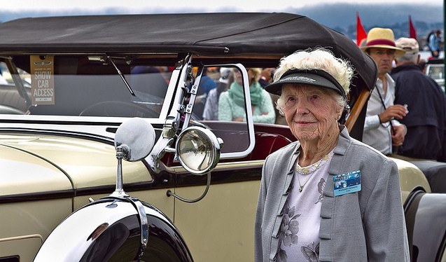 Dunning with her 1930 Packard at Pebble Beach Concours in 2012 | Hagerty