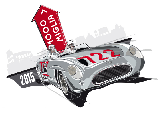 The 2015 Mille Miglia logo honors Moss's victory in 1955