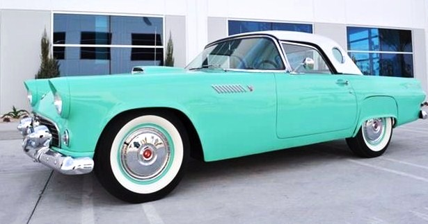 The 1955 Thunderbird shows ultra-low mileage on its odometer, the seller says