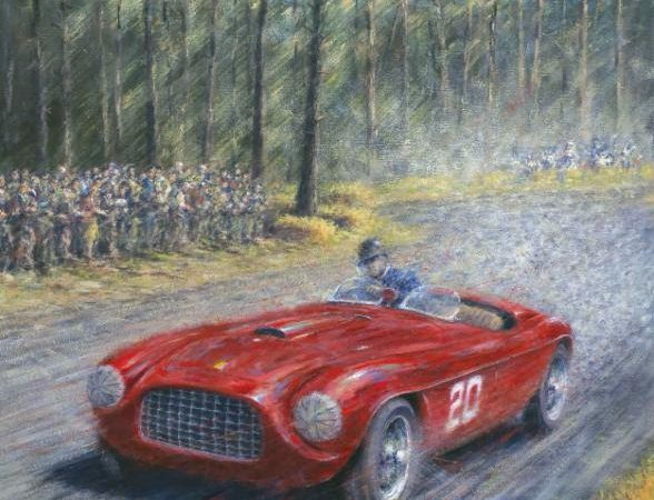 Pebble Beach Concours unveils event poster showing first Ferrari to race in California