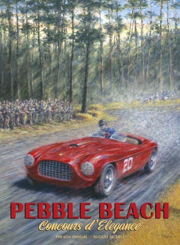 The poster shows a 1949 Ferrari racing through the Del Monte Forest | Peter Hearsey/Pebble Beach Concours