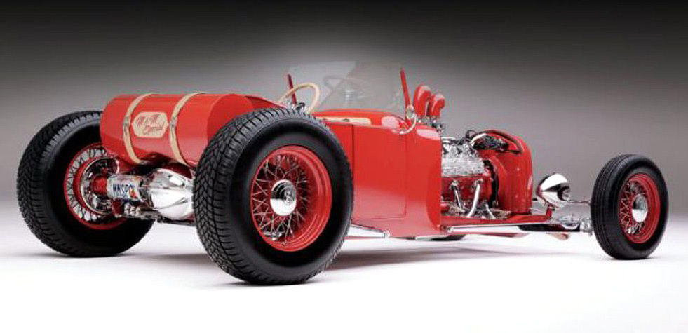 The roadster was modified in the style of dry-lakes speed-record cars