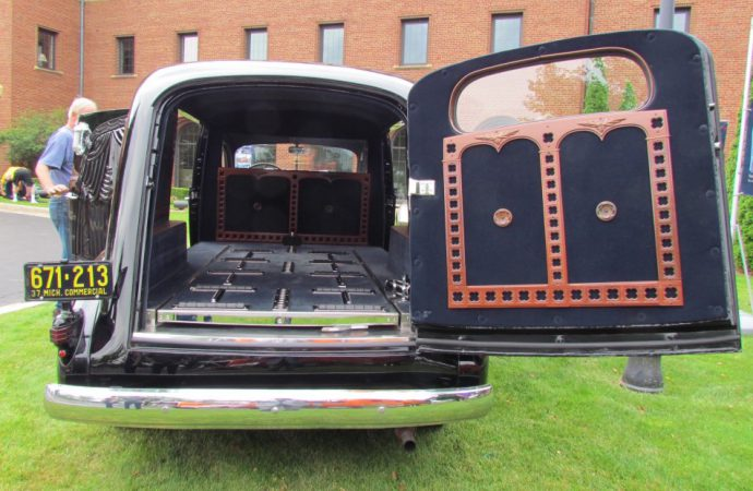 Why was there a hearse at the Concours d'Elegance of America's preview?