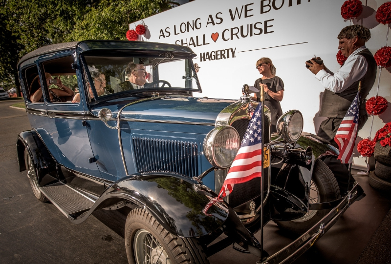 Gordon and Geri Rinschler renew their vows in their 1930 Model A during the Woodward Dream Cruise| Hagerty photos