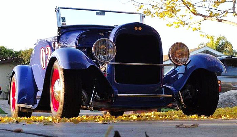The 1929 Ford Modal A roadster is a classic representation of an early dry-lakes speed racer
