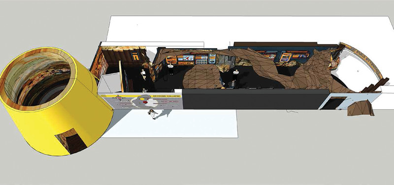Illustration shows new cave and sinkhole exhibit