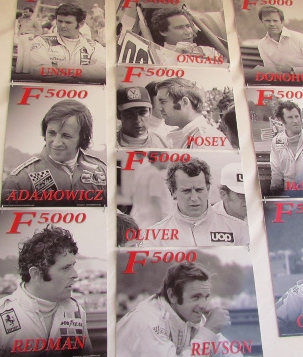 Tony Adamowicz (middle left) on the wall of F3000 racing stars display in the paddock