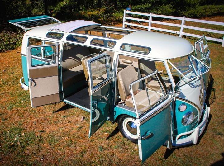 21-window VW van among vehicles representing mid-century suburban America | Hilton Head concours photos