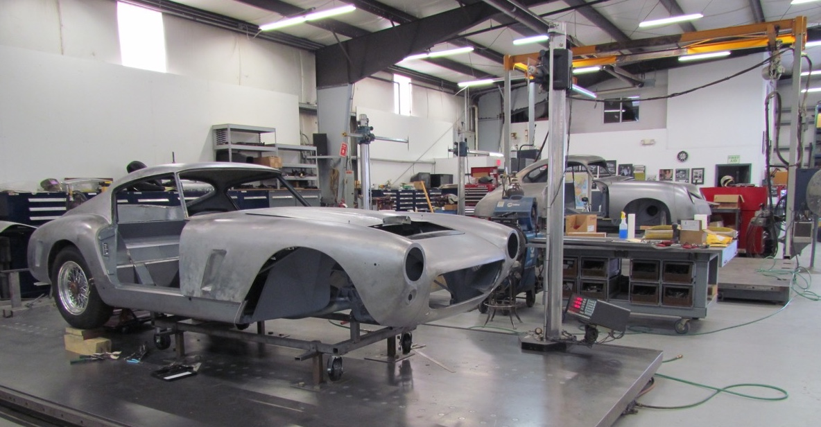 Short wheelbase Ferrari 250 GT and very early Porsche 356 undergo restoration at American Metal Shaping | Larry Edsall photos
