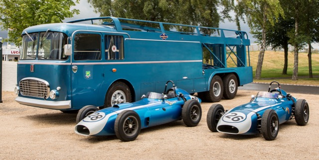 Scarab transporter and F1 racers