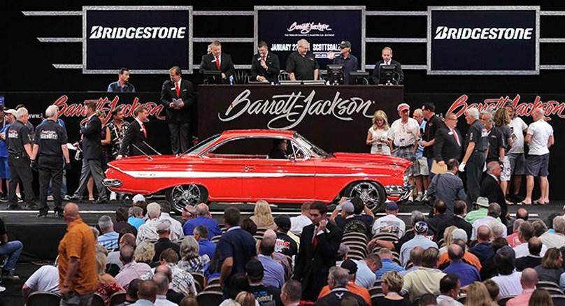 A custom '61 Chevrolet Impala rolls over the block at Barrett-Jackson's Las Vegas Auction | Barrett-Jackson