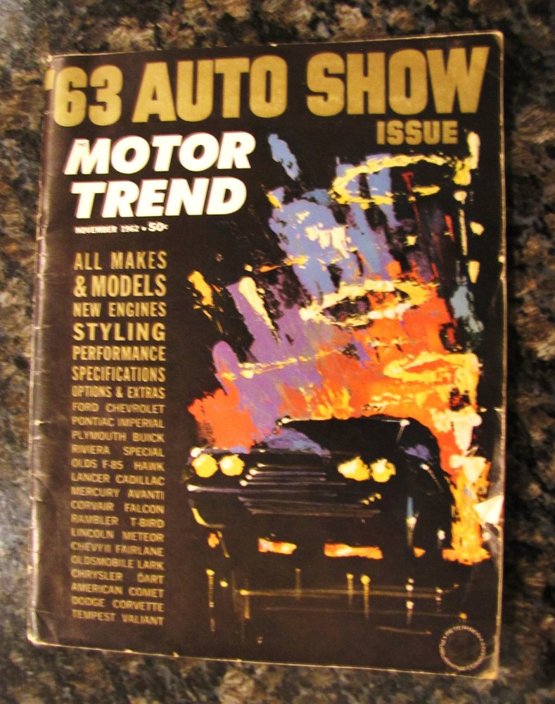 The abstract cover of the 'Motor Trend' edition was avant garde for the era