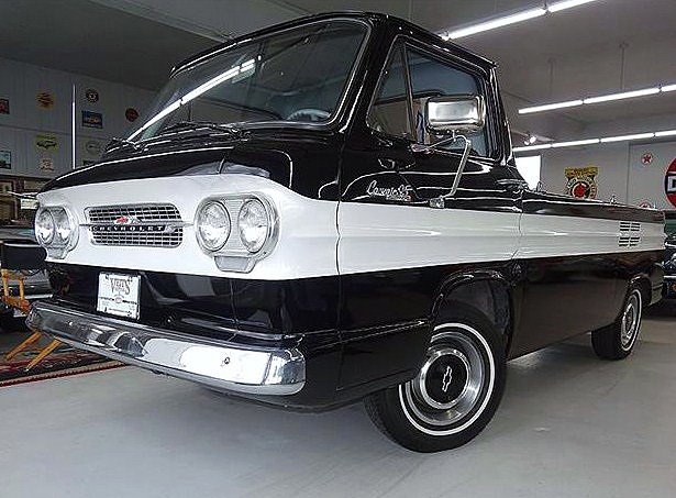The cab-forward styling of the Chevy Corvair pickup looks strangely appealing today