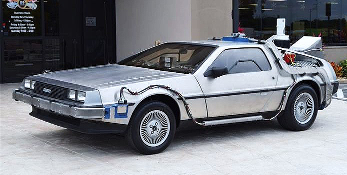 The 1981 DeLorean has been transformed into a replica of the 'Back to the Future' time-machine