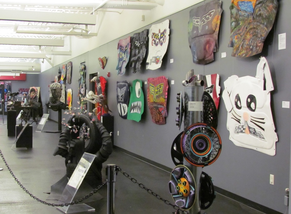 Just part of the car-part art on display at the National Corvette Museum | Larry Edsall photos