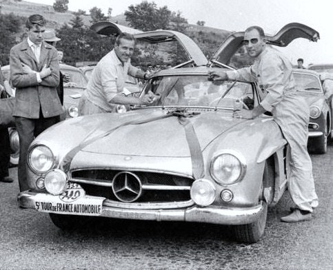 Stirling Moss (right) and George Houel at the 1956 Tour de France