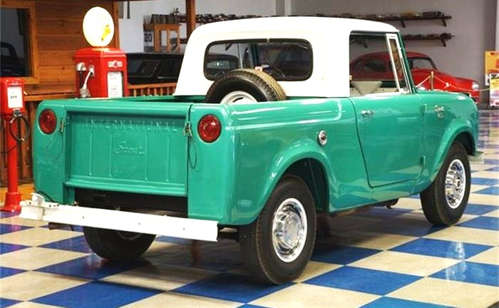 This Scout has been restored as a (very) short-bed pickup truck