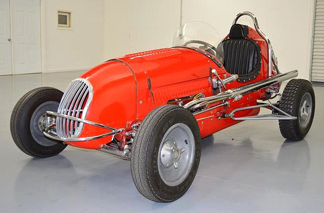 The 1947 Kurtis-Kraft Midget race car is a scaled-down version of Indy 500 roadsters