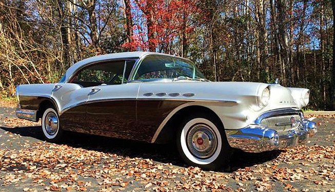 The 1957 Buick Special sparkles among fall foliage