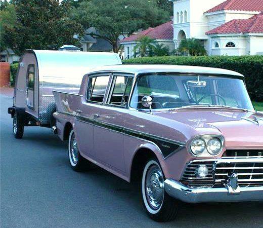 1958 Rambler sedan and teardrop trailer